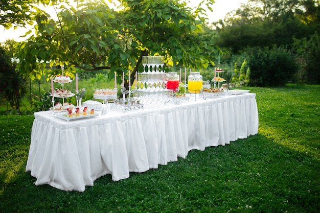 Outdoor festive banquet table set with appetizers