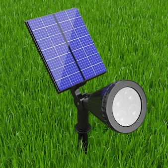 Outdoor garden led spotlight with solar panel on a green grass background. 3d rendering