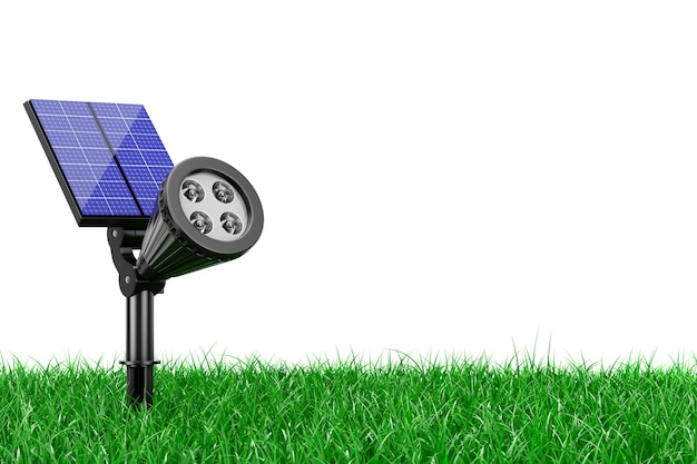 Светодиодный прожектор для наружного сада с панелью солнечных батарей в траве на белом фоне. 3d-рендеринг.
