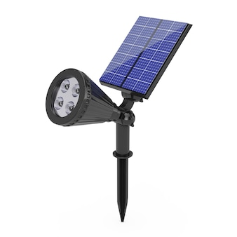 Outdoor garden led spotlight with solar panel on a white background. 3d rendering