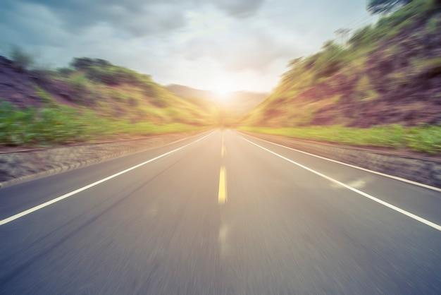 Outdoor highway asphalt pavement
