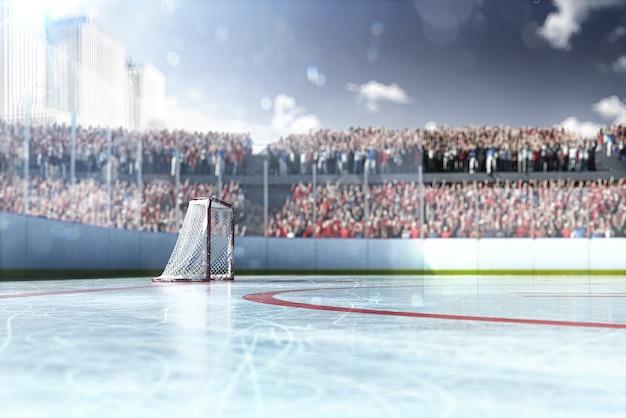Outdoor hockey arena 3d render