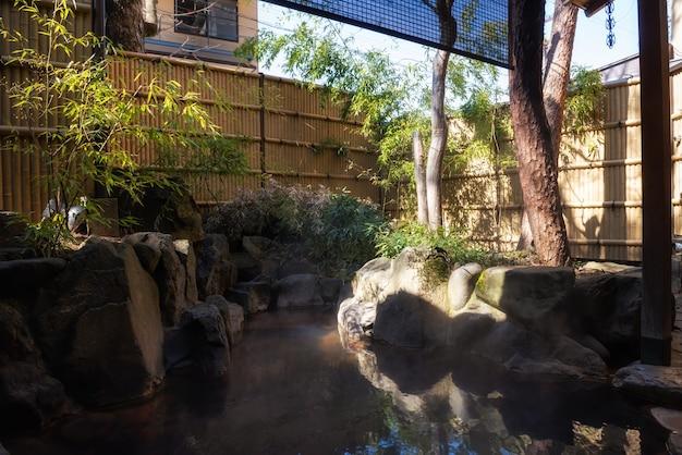 Outdoor hot springs or onsen in ryokan hotel