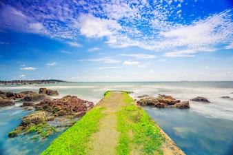 Outdoor island equipment seaweed beach panorama