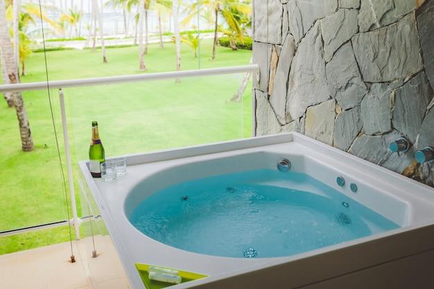 Outdoor jacuzzi bath tub in a hotel