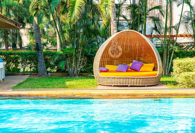 Outdoor patio chair around swimming pool