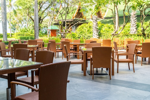 Outdoor patio chair and table in cafe restaurant