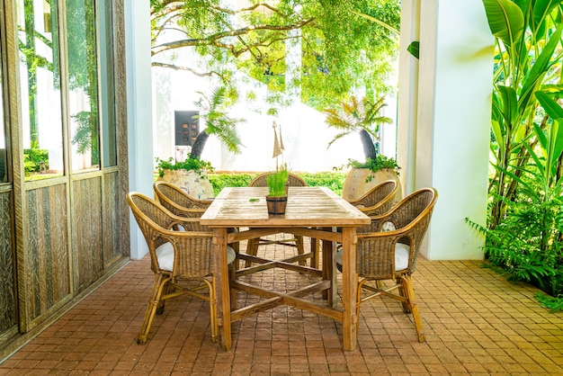 Outdoor patio table and chair or outdoor dining table