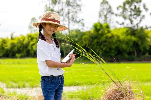 Outdoor portrait of a little girl farmer on rice fields
