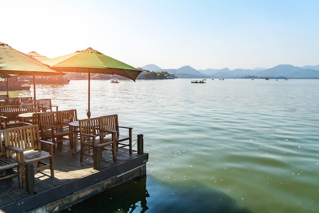 Outdoor restaurant on the shore of west lake