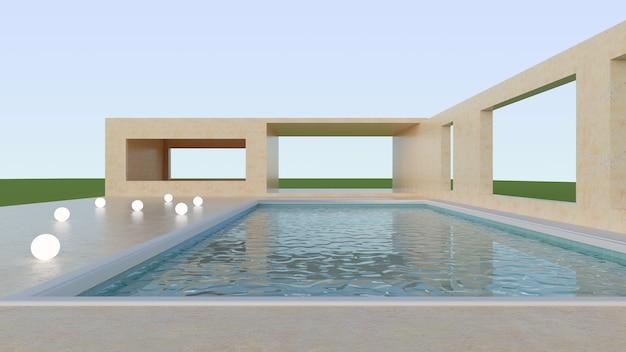 美しくシンプルな建築とプールのある屋外シーン。ファッションや装飾品を展示する青空の現代建築。床に球形のライト。 3dレンダー