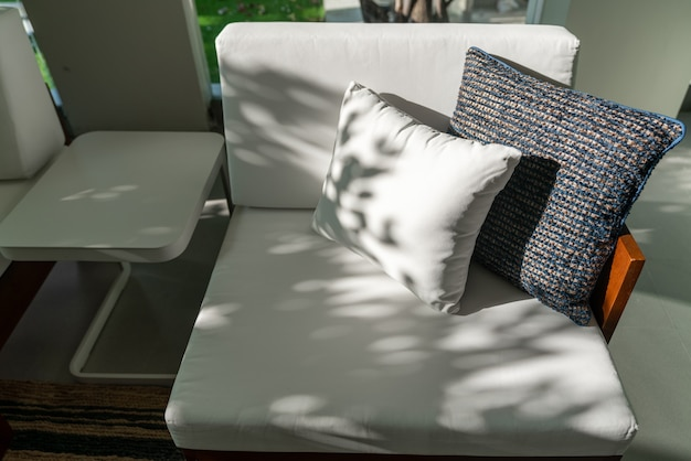 Outdoor seating corner  in tree shade