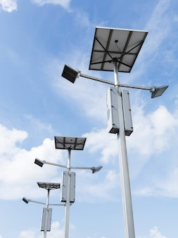 Outdoor solar cell led flood light on blue sky