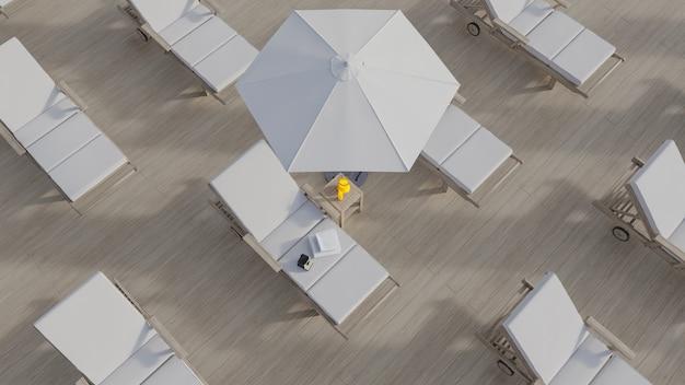 Outdoor terrace 3d rendering in summer concept