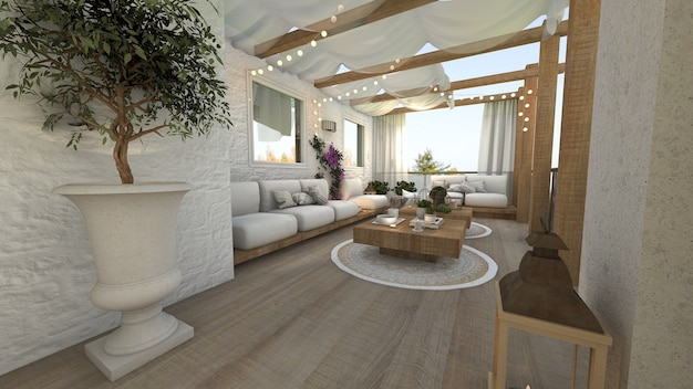 Outdoor terrace of a technical-style house 3d render