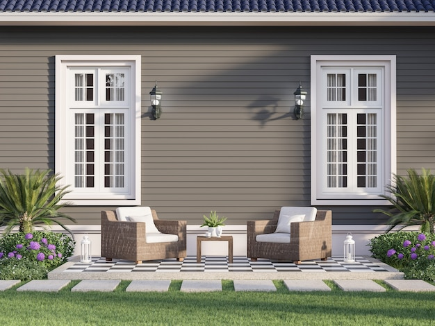 Outdoor terrace with empty gray plank wall background 3d renderdecorated with wicker chairs