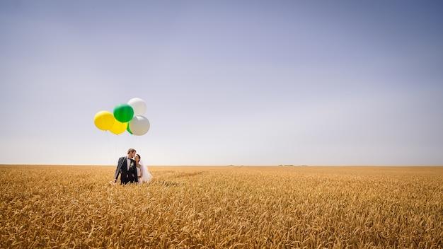 屋外の結婚式アメリカのバルーンブルー