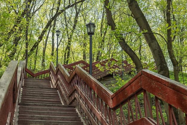 모스크바 도시 공원에 있는 야외 나무 계단.