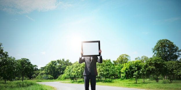 Outdoors green frame nature business person work