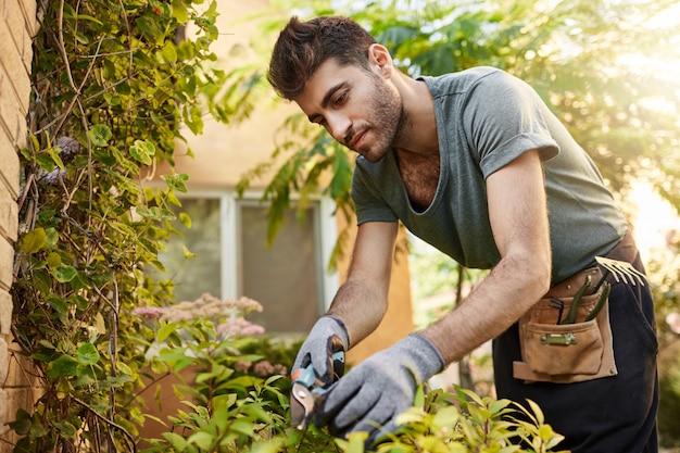 Ritratto all'aperto di giovane uomo ispanico barbuto attraente in maglietta blu e guanti che lavorano in giardino con strumenti, foglie di taglio, annaffiare le piante. vita di campagna