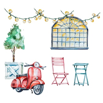 Иллюстрация акварели ретро кафа внешняя с старым самокатом, таблицами и стульями outdoors.