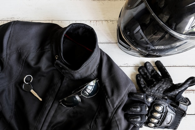 Outfit of biker and accessories with copy space
