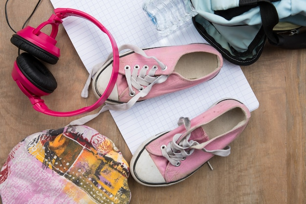 Outfit of teenager, young woman or girl. overhead of essentials for modern young person.