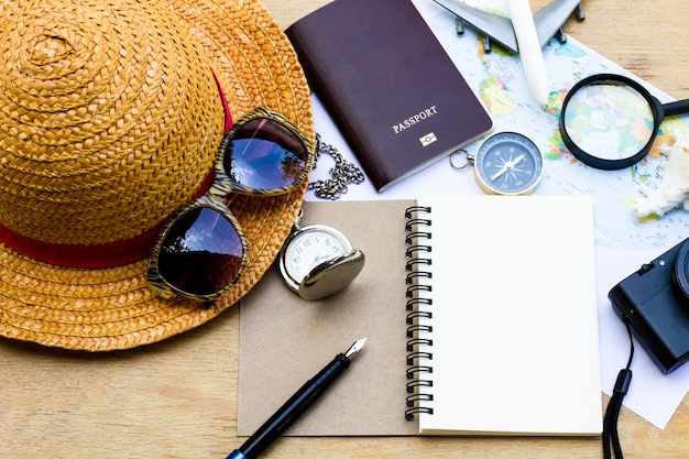 Outfit of traveler. planning vacation trip. travel and tourism concept.