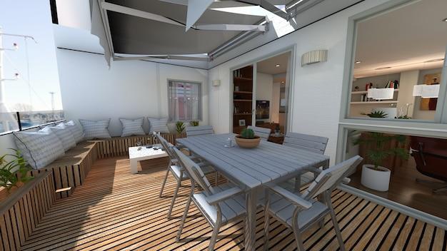 Outside summer terrace 3d render project