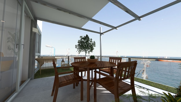 Outside terrace with views 3d render project