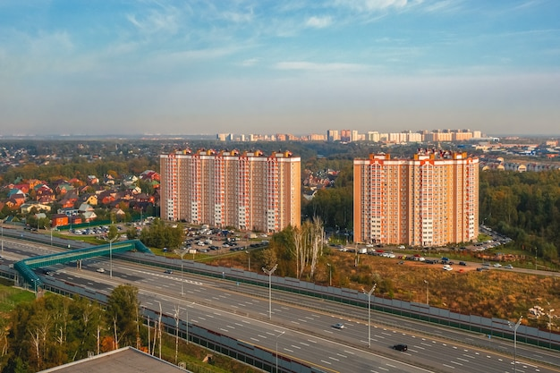 Outskirts of moscow. an elevated crossing over a road in the north of moscow. new neighborhood.