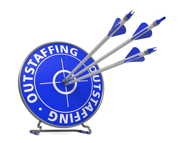 Outstaffing concept. three arrows hit in blue target.
