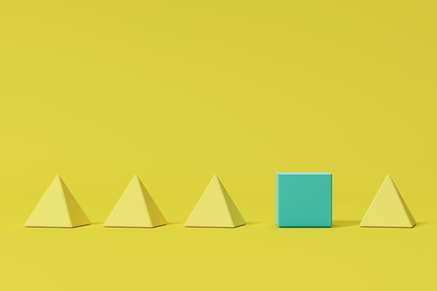 Outstanding blue box among yellow square pyramids on yellow background. minimal concept idea