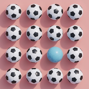 Outstanding blue football among white football on pink