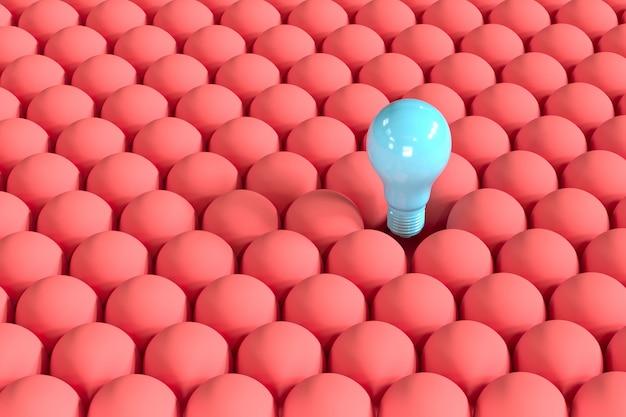 Outstanding blue light bulb floating among red light bulbs