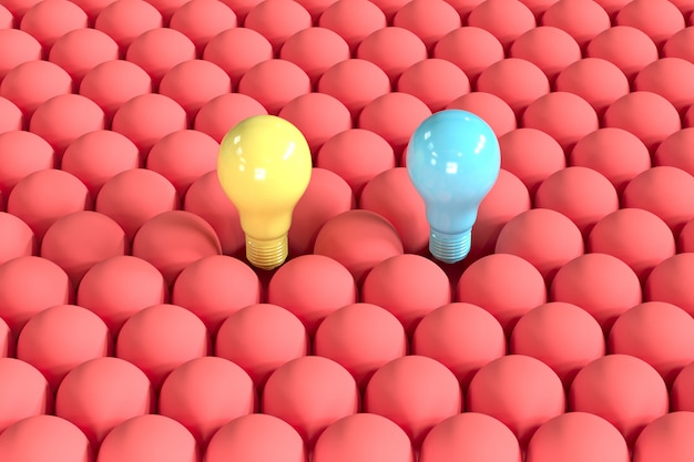 Outstanding blue and yellow light bulb floating among red light bulbs