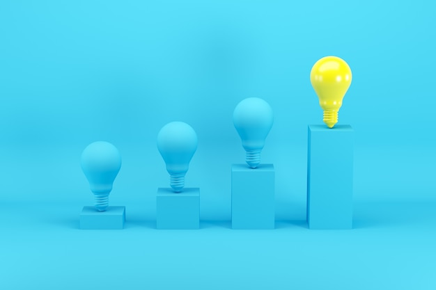 Outstanding bright yellow light bulb among blue light bulbs on bar chart on blue