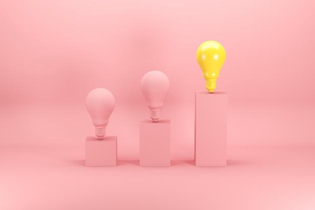Outstanding bright yellow light bulb among pink bulbs on bar chart on pink