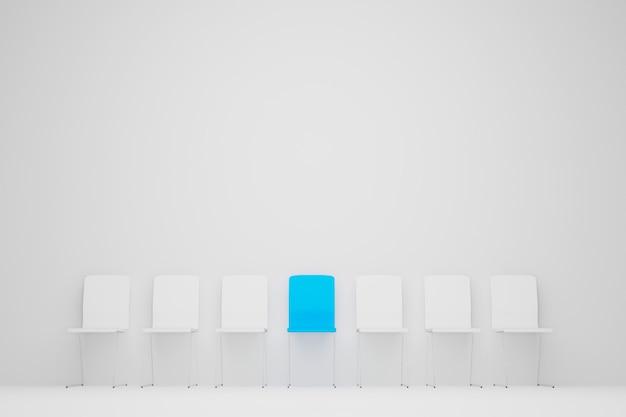 Отличный стул в ряду. синий стул выделяется из толпы. бизнес-концепция управления человеческими ресурсами и найма. 3d иллюстрация