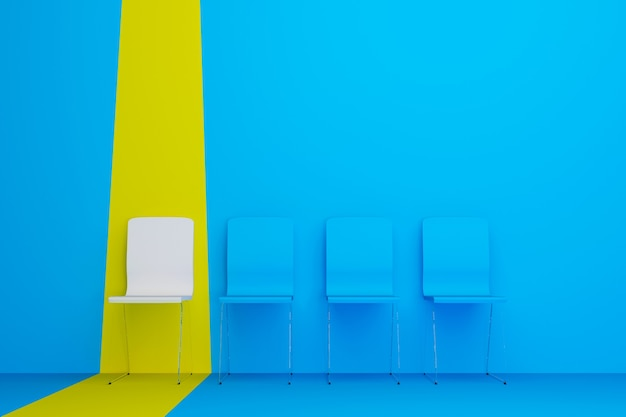 Выдающийся стул в ряду белый стул, выделяющийся из толпы 3d иллюстрации