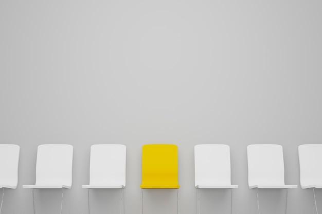 Отличный стул в ряду. желтый стул выделяется из толпы. бизнес-концепция управления человеческими ресурсами и найма. 3d иллюстрация