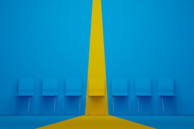 Выдающийся стул в ряду желтый стул, выделяющийся из толпы