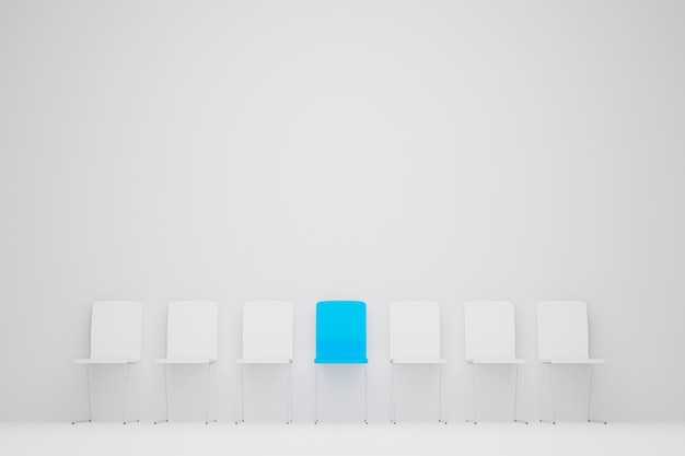 Outstanding chair in row. blue chair standing out from the crowd. human resource management and recruitment business concept. 3d illustration
