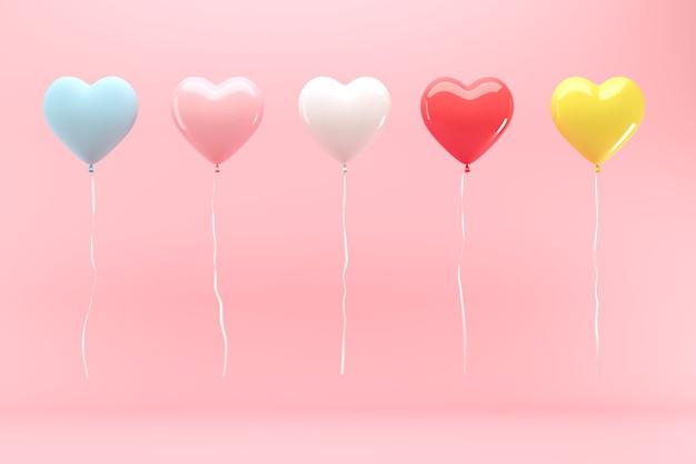 ピンクの背景に浮かぶピンクのハートの風船の中で傑出したカラフルなハートの風船3dレンダリングバレンタインコンセプトのアイデア