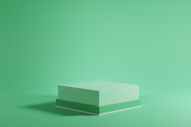 Выдающийся зеленый подиум макет на зеленом фоне