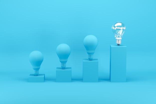 Outstanding light bulb among light bulbs painted in blue on bar chart on blue