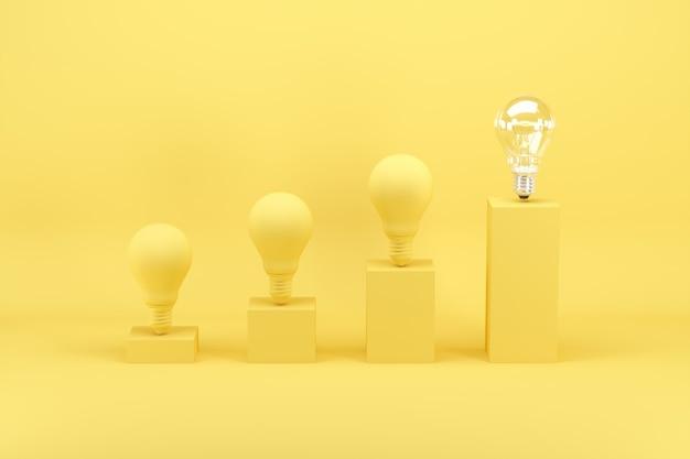 Outstanding light bulb among light bulbs painted in yellow on bar chart on yellow