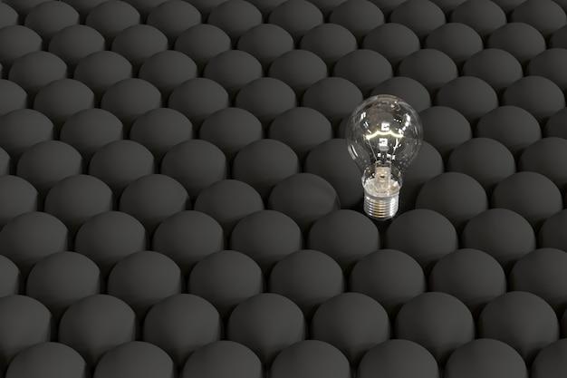 Outstanding light bulb on floating among black light bulbs.
