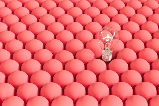 Outstanding light bulb on floating among red light bulbs.
