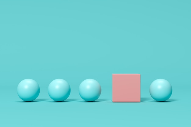 Outstanding pink box among blue spheres on blue background. minimal concept idea